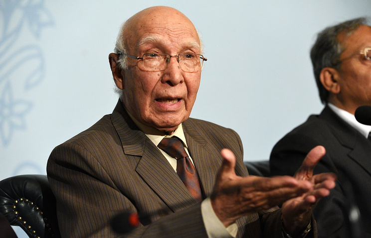 Sartaj Aziz, advisor to the Prime Minister of Pakistan on national security and foreign affairs