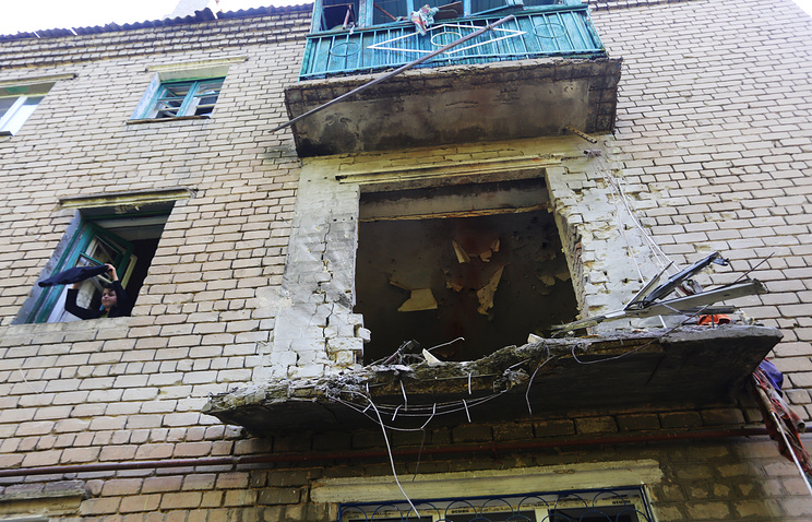 Aftermath of a shelling in Donetsk region