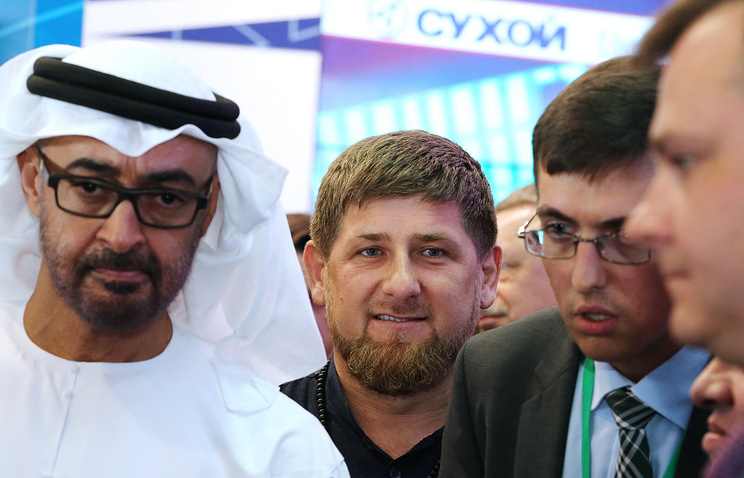Crown Prince of Abu Dhabi, Deputy Supreme Commander of the United Arab Emirates Armed Forces Mohammed Al Nahyan and Chechen leader Ramzan Kadyrov