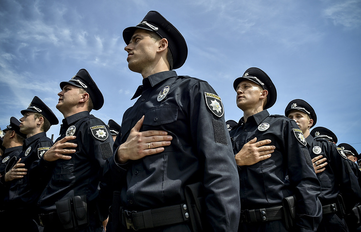 Ukrainian patrol police officers