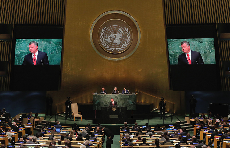 Jordan's King Abdullah II Ibn Al Hussein addresses the 70th session of the United Nations General Assembly