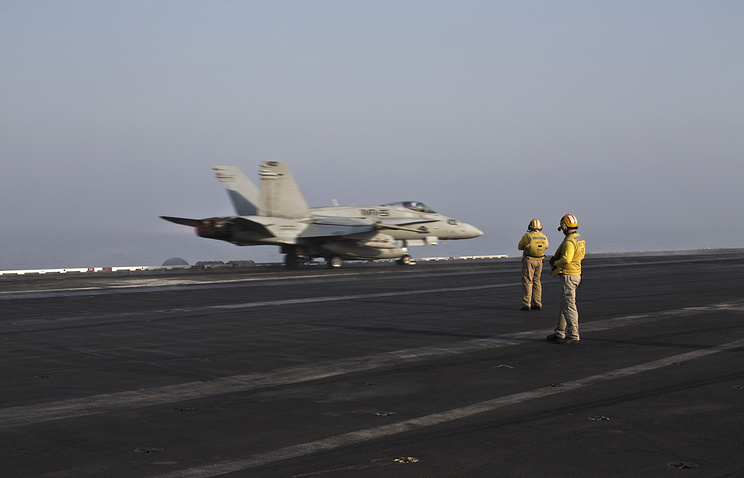 US Marine fighter jet aircraft aboard the USS Theodore Roosevelt aircraft carrier
