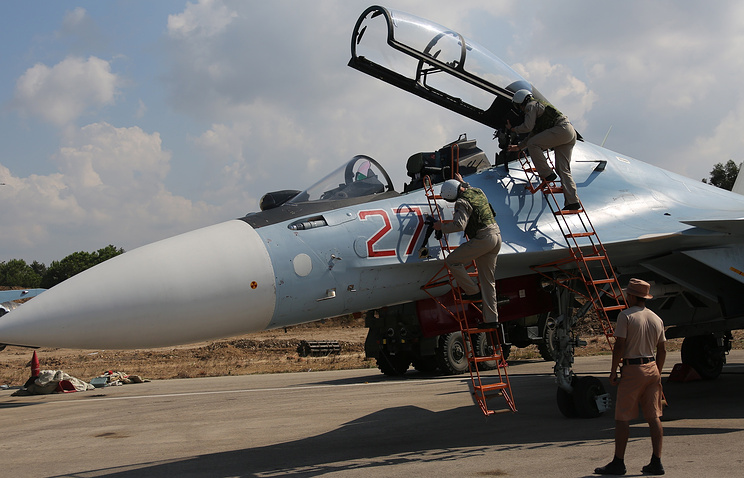 Russian warplane at the Syrian Hmeymim airbase