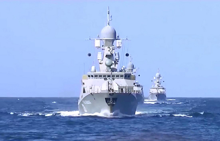 Russian Navy Caspian Flotilla ship taking part in air strikes against remote Islamic State targets in Syria