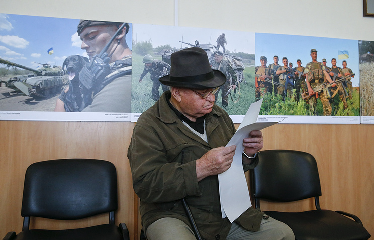 A local man at a polling station in Kiev, Ukraine