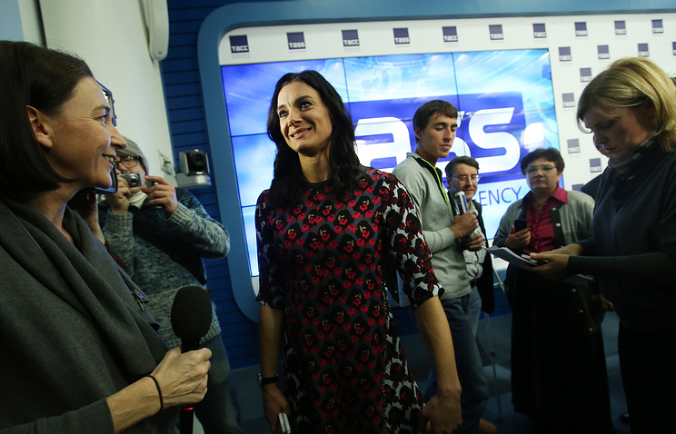 Yelena Isinbayeva during a news conference at TASS