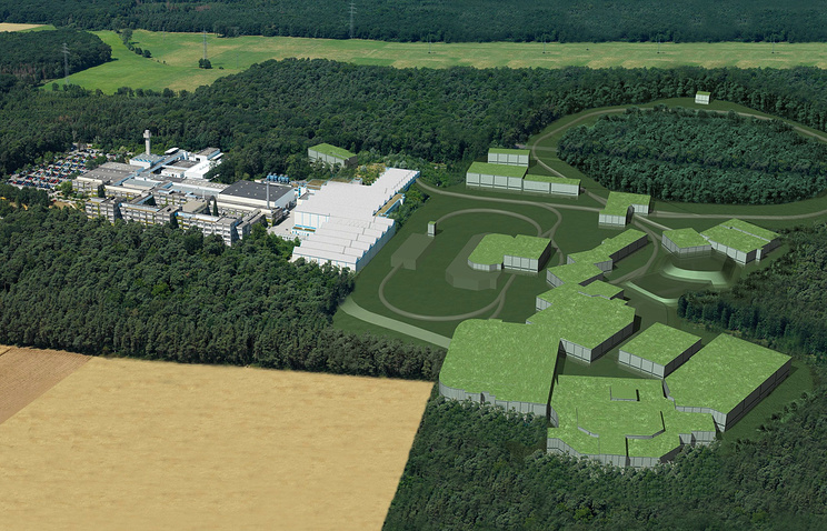 A computer-generated model shows what a planned particle accelerator facility in Darmstadt, Germany could look like (archive)