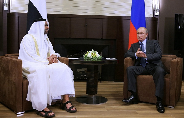 Crown Prince of Abu Dhabi and Deputy Supreme Commander of the UAE Armed Forces, Mohammed bin Zayed Al Nahyan (left) and Vladimir Putin