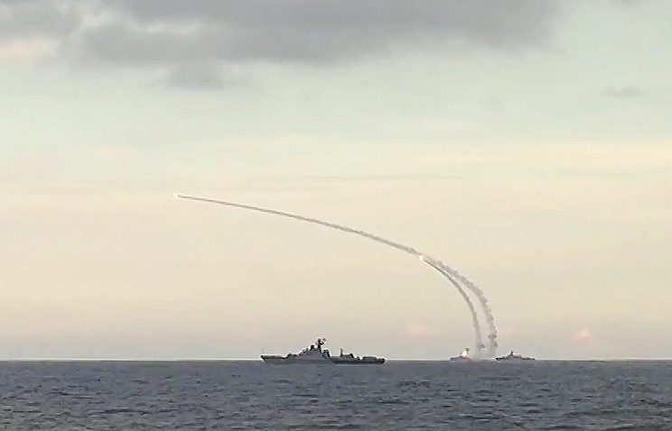 Russian Caspian Flotilla ships launching missiles at IS targets in Syria on November 20