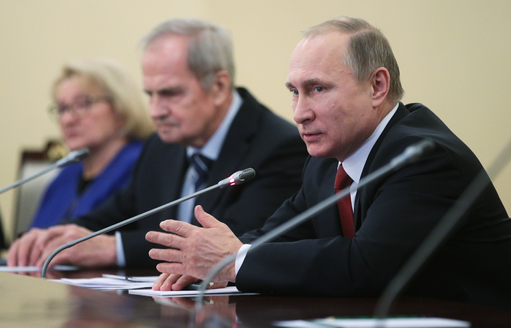Russia's President Vladimir Putin during a meeting with Russian Constitutional Court judges