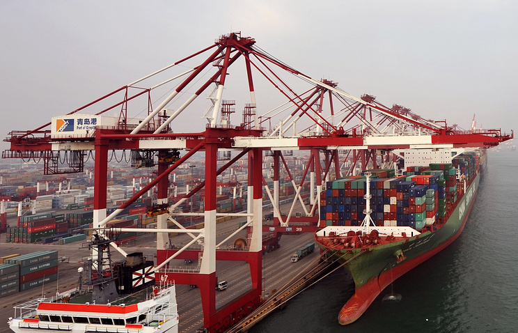 Container ship at the Port of Qingdao, China