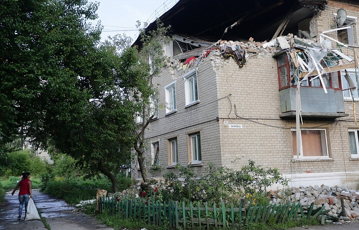 Damaged residential building in Gorlovka, eastern Ukraine