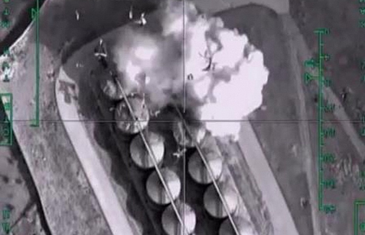 Airstrike against an IS-controlled oil storage facility in Syria by Russian Aerospace Force