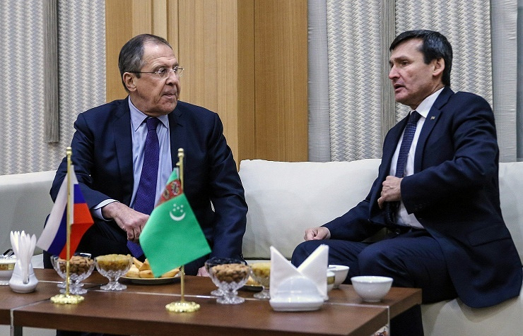 Russian Foreign Minister Sergey Lavrov and his Turkmenistan's counterpart Rasit Meredow