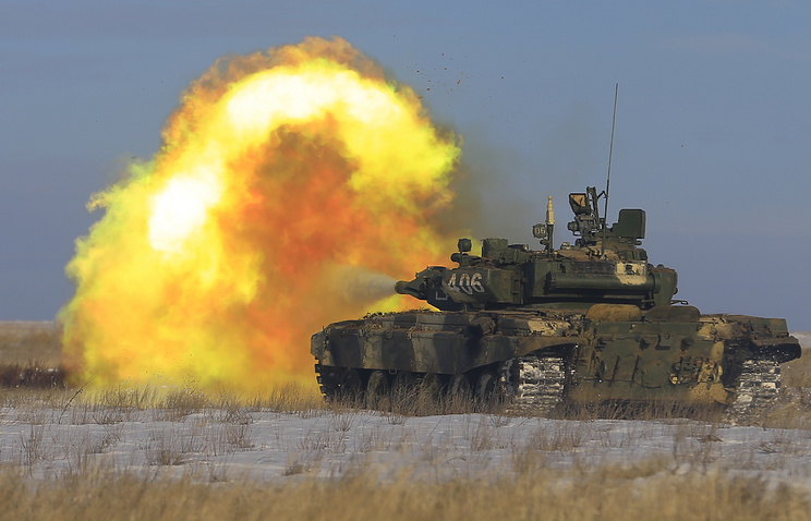 A Russian tank during drills in the Southern Military District (archive)