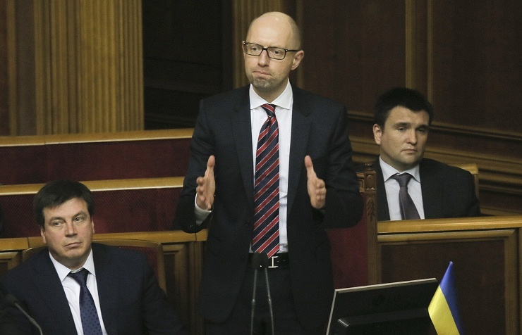 Ukraine's PM Arseniy Yatsenyuk (center)