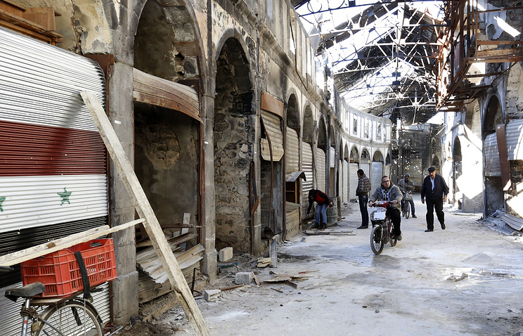 Damaged buildings in Homs, Syria