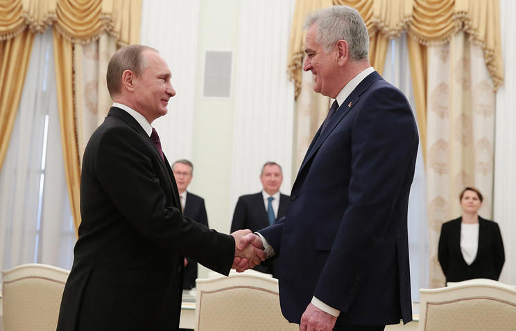 Presidents of Russia and Serbia Vladimir Putin and Tomislav Nikolic