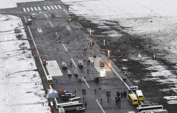 The runway at the Rostov-on-Don airport where a FlyDubai Boeing 737-800 crashed