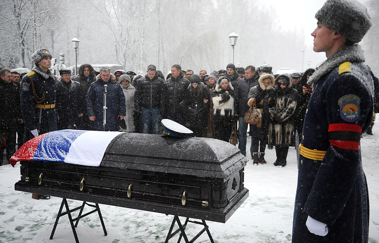 The funeral of Russian Air Force pilot Oleg Peshkov, a commander of the Su-24 bomber aircraft downed in Syria