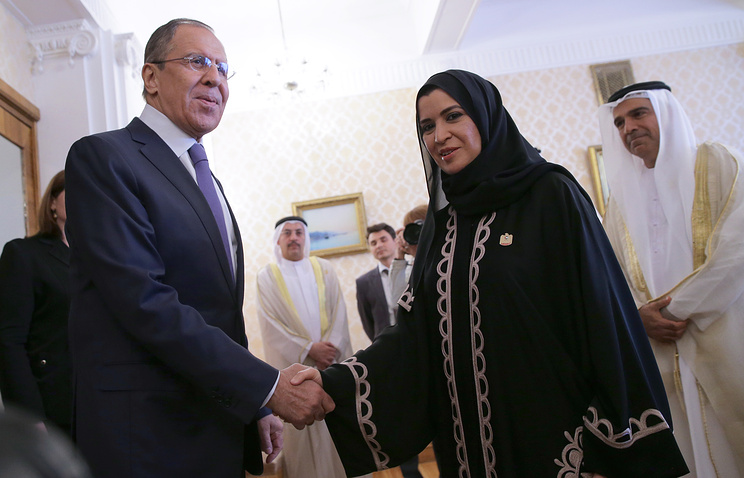 Russian Foreign Minister Sergey Lavrov and UAE's Federal National Council Speaker Amal Al Qubaisi