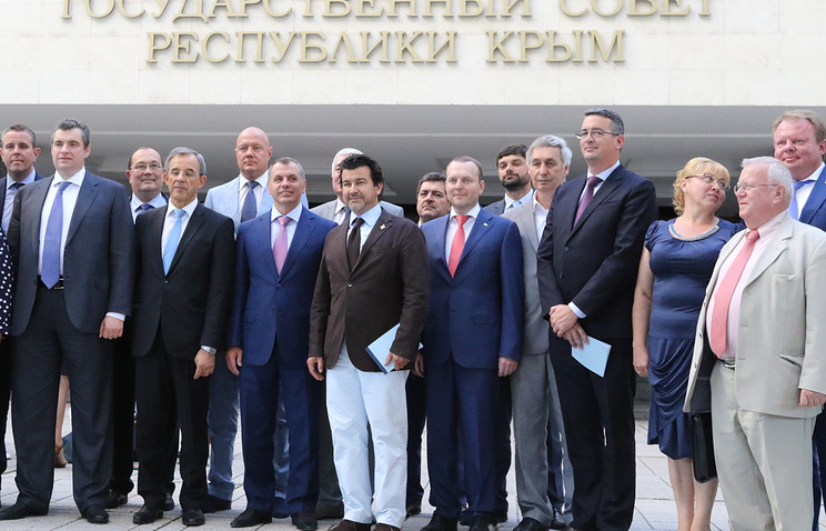 French lawmakers in Crimea in July 2015