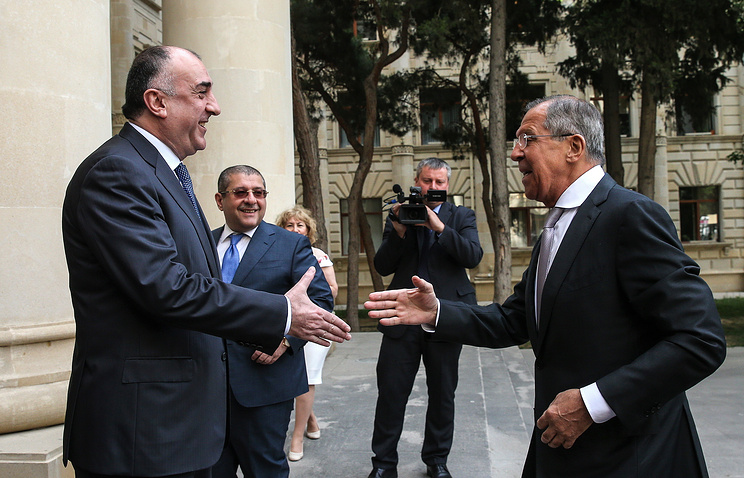 Azerbaijani Foreign Minister Elmar Mammadyarov and Russian Foreign Minister Sergey Lavrov