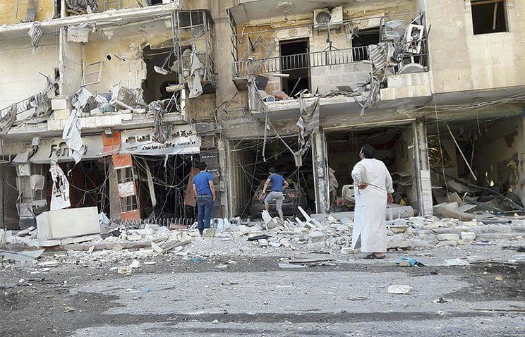 Buildings aftermath of airstrikes in eastern Aleppo, Syria