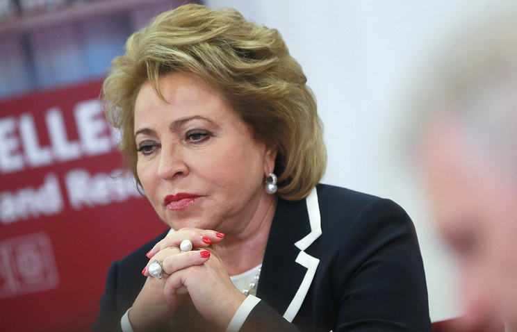The speaker of the upper house of Russian parliament, Valentina Matviyenko