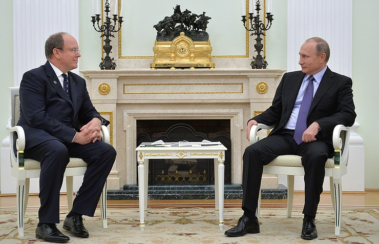Prince Albert II of Monaco and Russian President Vladimir Putin