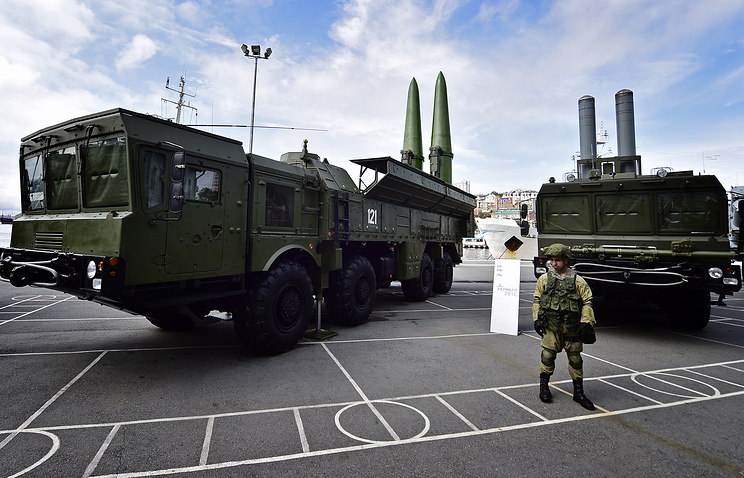 Iskander-M guided missile system and a Bastion coastal defence missile system