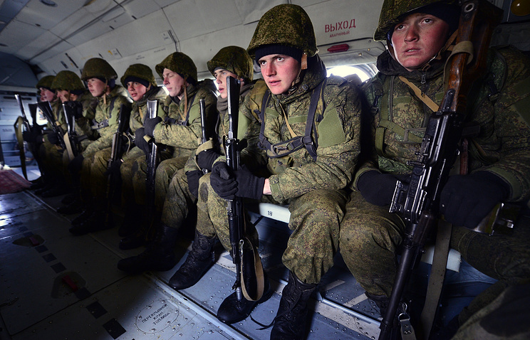 Paratroopers on military drills