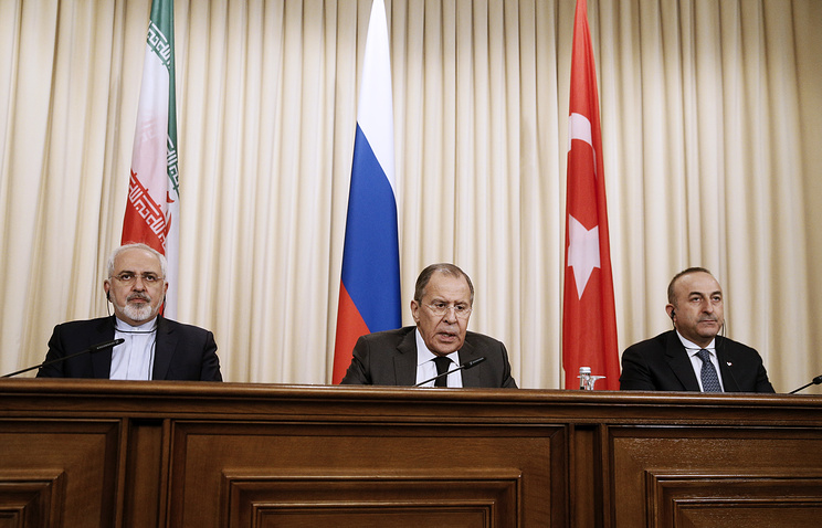 Iran's Foreign Minister Mohammad Javad Zarif, Russia's Foreign Minister Sergei Lavrov and Turkey's Foreign Minister Mevlut Cavusoglu