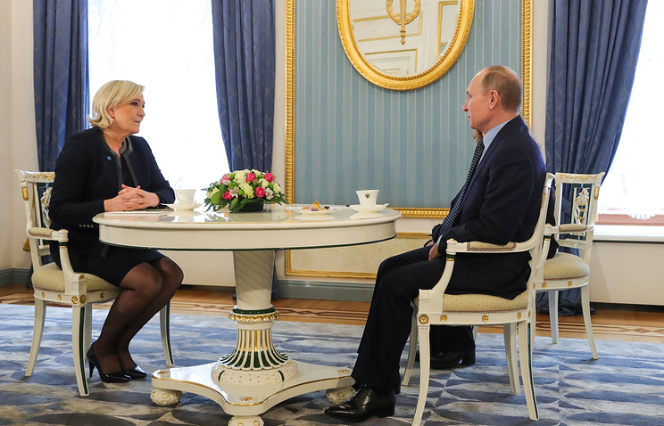 French presidential candidate Marine Le Pen and Russian President Vladimir Putin