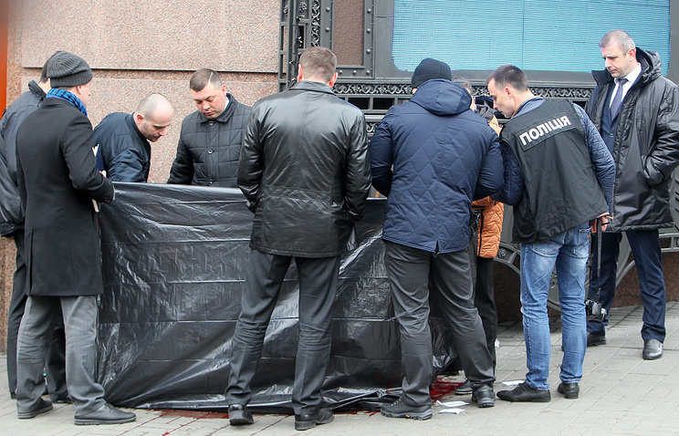 The site of Denis Voronenkov's murder, Kiev