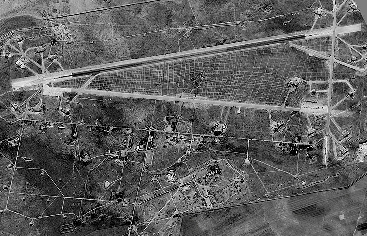 Aerial image of the Shayrat airbase