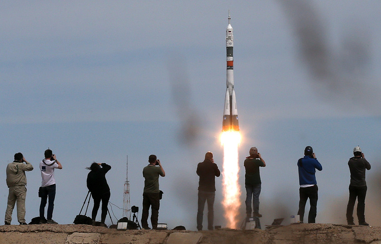 Launch of the Russian Soyuz MS-04 spacecraft from the Baikonur cosmodrome