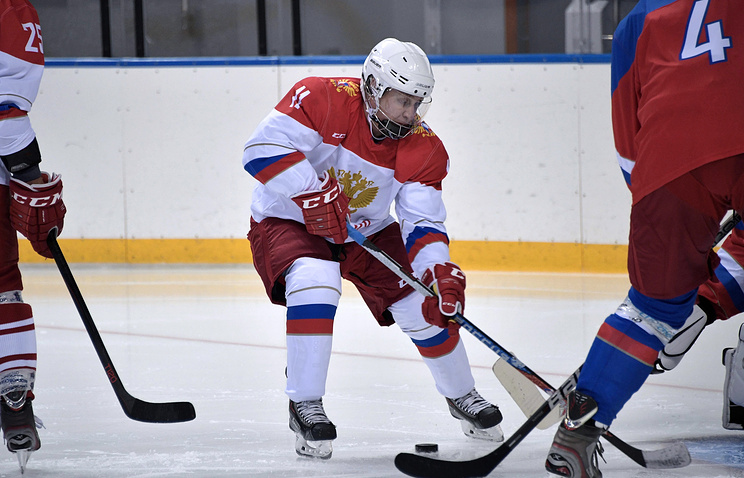 Russian President Vladimir Putin during the ice hockey training session in Sochi