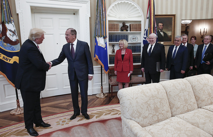 US President Donald Trump, Russia's Foreign Minister Sergei Lavrov and Russia's Ambassador to the US Sergei Kislyak at the White House
