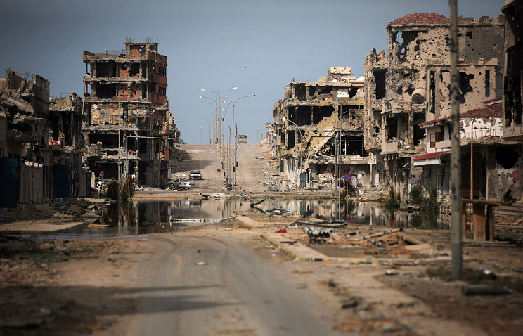 Buildings ravaged by fighting in Sirte, Libya, 2011