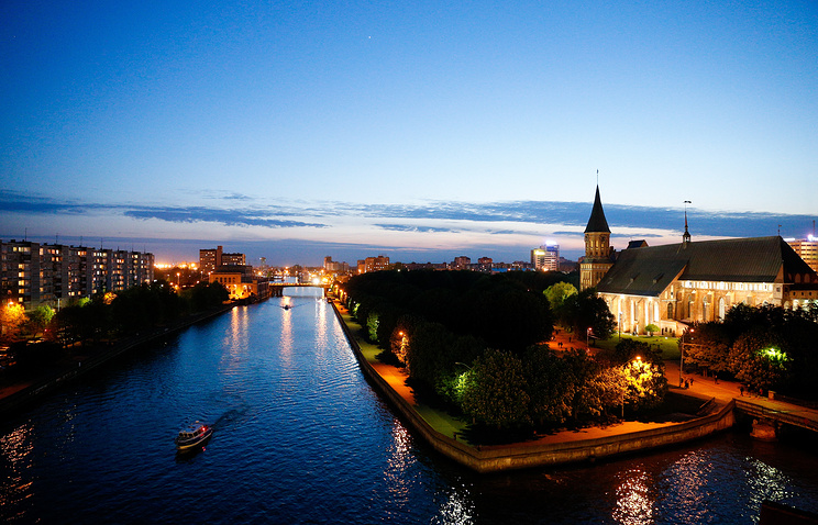 The view of Koenigsberg Cathedral on the bank of Pregola river in Kaliningrad