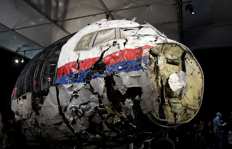 Reconstructed wreckage of Malaysia Airlines Flight MH17