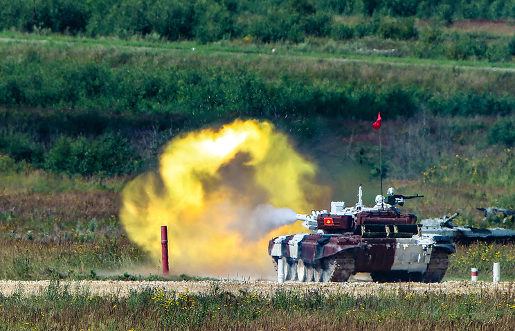 Kyrgyzstan's tank seen during Tank Biathlon competition at Alabino Firing Range in Russia