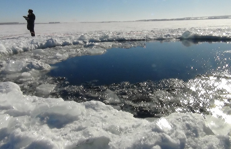 Lake Chebarkul area where fragments of the Chelyabinsk meteorite have been recovered. February 2013