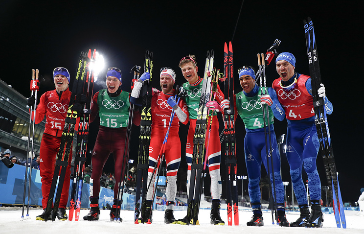 Gold medal winners Martin Johnsrud Sundby, of Norway and Johannes Hoesflot Klaebo, silver medal winners Denis Spitsov, of the team from Russia, and Alexander Bolshunov and bronze medal winners Richard Jouve, of France, and Maurice Manificat