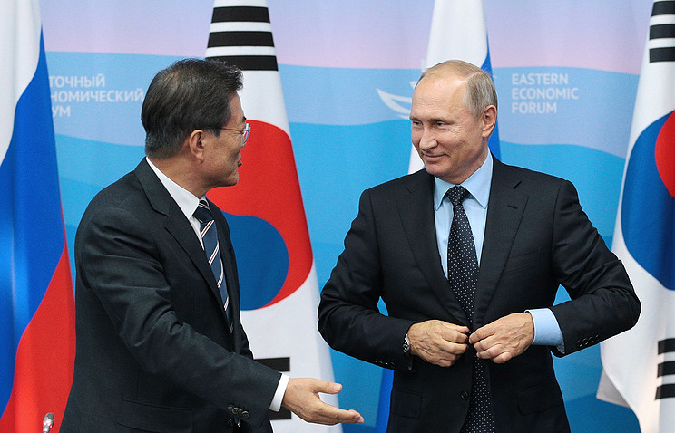 South Korean President Moon Jae-in and Russian President Vladimir Putin