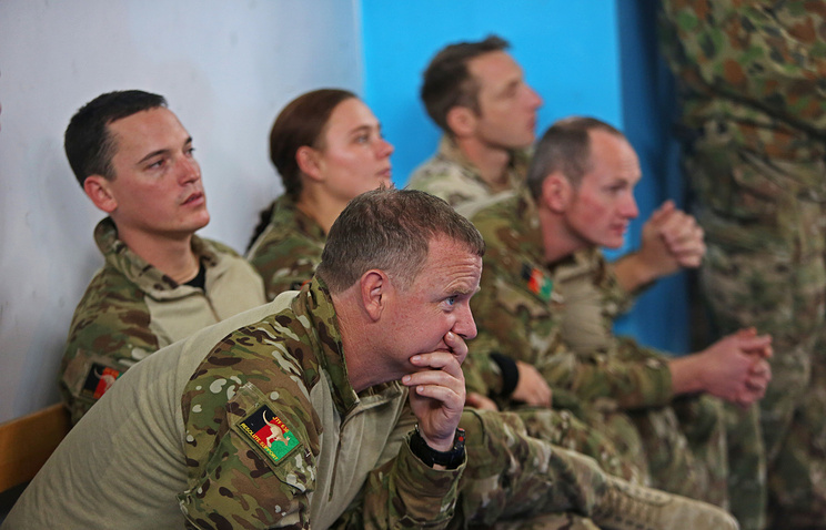 Australian soldiers seen at NATO headquarters, in Kabul, Afghanistan