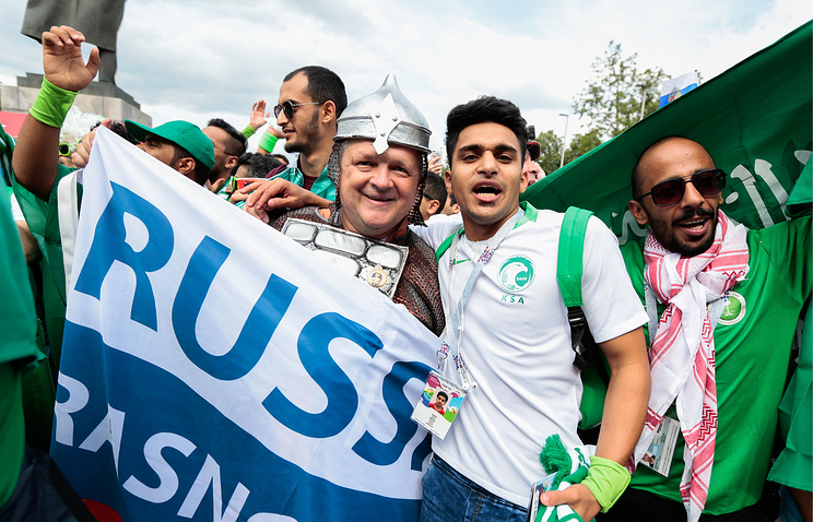 Saudi Arabian fans seen outside Luzhniki Stadium ahead of the 2018 FIFA World Cup Group A Round 1 football match between Russia and Saudi Arabia