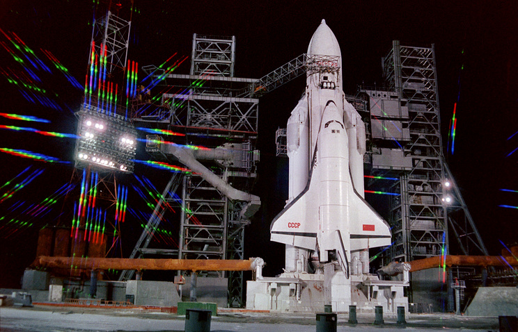 Energia rocket with the Buran spacecraft readies for launch in 1988