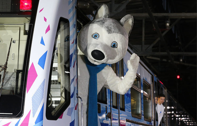 U-Laika, the official mascot of the 2019 Winter Universiade, at a ceremony to launch a 2019 Winter Universiade themed train